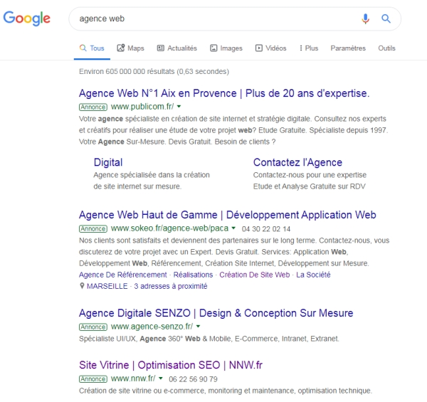 SERP - Google AdWords