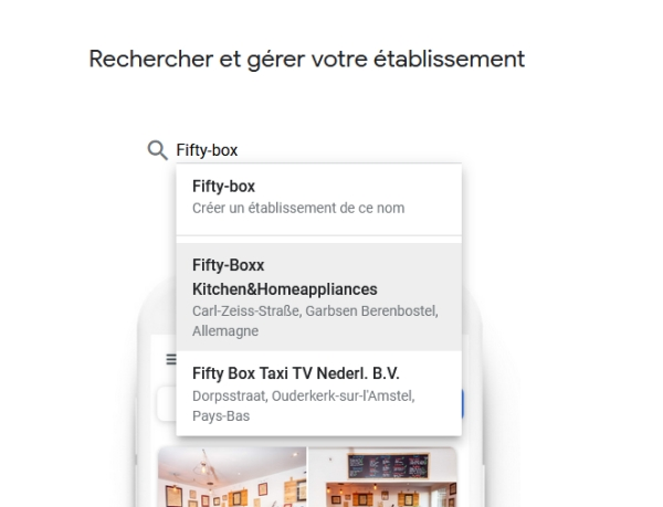 SERP -Page creer mon etablissement sur Google my business