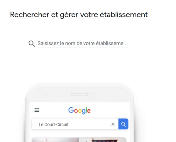 SERP - Page mon etablissement - Google my business